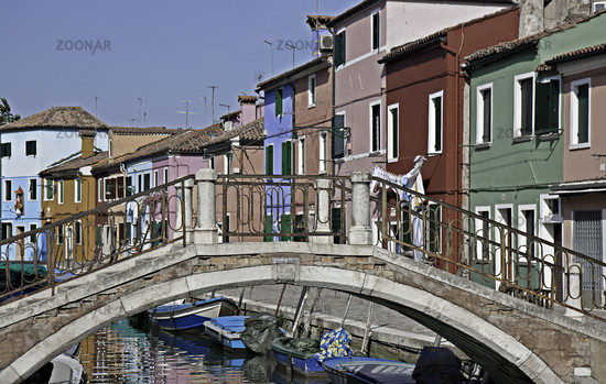 Colorful building at a channel, Burano
