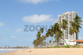 Maceio, Brazil - September, 05 2017. Cruz das Almas beach with large coconut trees and a building in the background. The coastal strip is almost deserted.