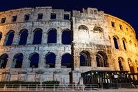 Ancient Roman Amphitheater in Pula at Night, Croatia