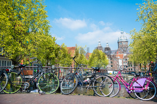Pink bicycle in Amsterdam, Netherlands