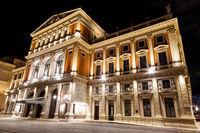 Famous Vienna state opera house at night
