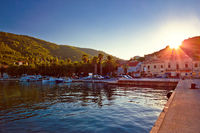 Island of Vis harbor at sunset view