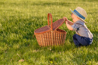 Toddler child outdoors. One year old baby boy wearing straw hat looking in picnic basket