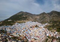 Aerial view of blue city Chefchaouen