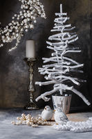 Christmas wreath tree candlestick doves on a dark gray background with divorces