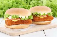 Fischburger Fisch Burger Backfisch Hamburger frische Käse Tomaten Salat