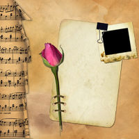 Grunge paper with rose on musical background