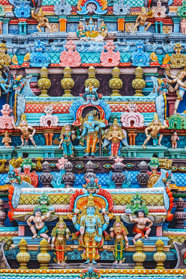 Bas reliefes on gopura tower of Hindu temple. Sri Ranganathasw