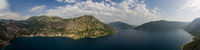 Wide aerial view of Kotor bay in Montenegro
