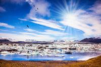 The sun illuminates the Ice Lagoon