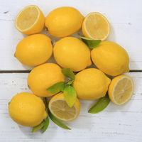 Zitrone Zitronen Früchte quadratisch von oben