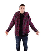 Boy shrugging shoulders
