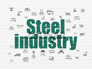 Manufacuring concept: Steel Industry on wall background