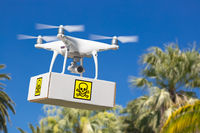 Unmanned Aircraft System (UAV) Quadcopter Drone Carrying Package With Poison Symbol Label Over Tropical Terrain.