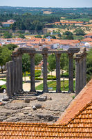 Temple of Diana, Roman temple of Evora dedicated to the cult of Emperor Augustus. Evora. Portugal