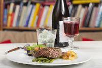 Steak mit Wein