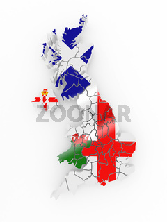 Map of Great Britaine in national flag colors. 3d