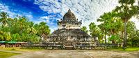 Beautiful view of stupa in Wat Visounnarath. Laos. Panorama