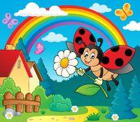 Ladybug holding flower theme image 4
