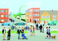 Stadt mit Menschen.eps