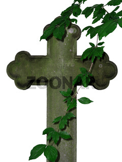 Frei gestelltes Kreuz mit Zweigen