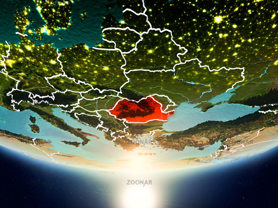 Romania with sun on planet Earth