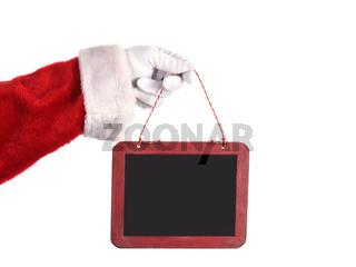 Santa Claus Holding Blank Chalkboard Sign