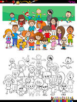 funny children characters group coloring book