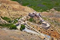 Aerial view of Ki Gompa monastery, Spiti Valley, Himachal Prades