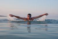 Man Swimming Sea Ocean Sunset