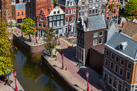 The Hague, Netherlands - April 26, 2017: Amsterdam in Madurodam miniature park in The Hague