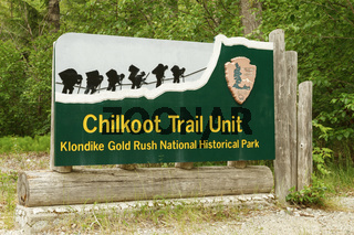 Welcome Sign at Entrance to Chilkoot Trail in Skagway Alaska