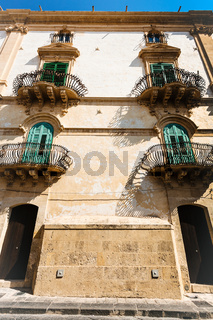 facade of urban house in Noto city