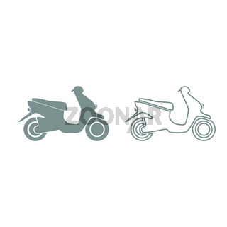 Scooter grey set icon .