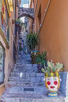 Narrow Alleyway In The Village Of Taormina Italy