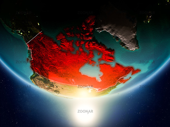 Canada with sun on planet Earth