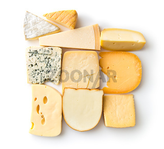 Different kinds of cheeses.