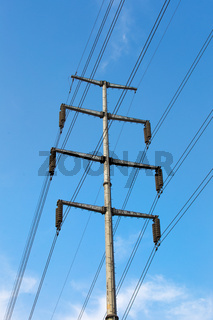 Large view on the powerlines on the field