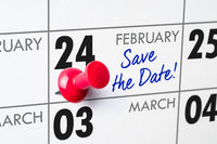 Wall calendar with a red pin - February 24