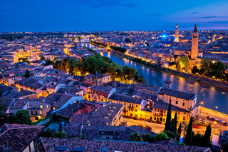 City of Verona and Adige river evening aerial view