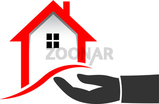 Realtor Hand to Sell House. Vector illustration