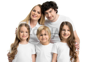 Family portrait of five people
