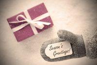 Pink Gift, Glove, Text Seasons Greetings, Instagram Filter