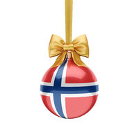 3D rendering Christmas ball with the flag of Norway