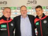 Michael Biegler,Andreas Michelmann und Christian Prokop beim DHB Medientag am 10.10.17 in Magdeburg