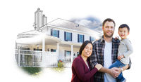 Mixed Race Chinese and Caucasian Parents and Child In Front of House Drawing on White.