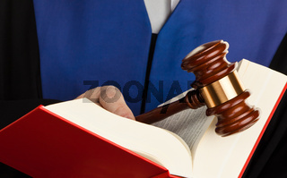 Judge Gavel with law books and