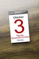 a calendar the 3rd of October Day of German unity text in german language