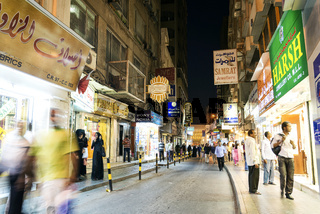 souk shopping street in central manama city bahrain