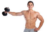 Bodybuilder Bodybuilding Muskeln Body Building Training Schulter Schultern Hantel Mann stark muskulös jung Freisteller